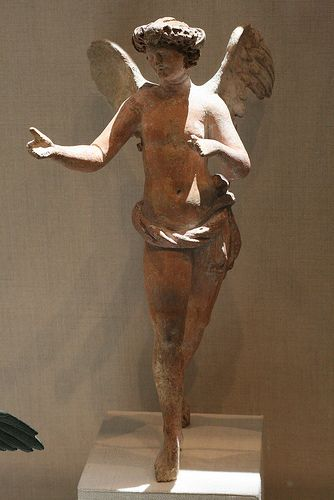 Terracotta statuette of Eros flying Greek, Asia  Minor, Myrina ca 200-150 BC Hellenistic period Angel
