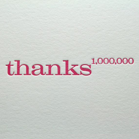 Thank You Letterpress Note Cards Thanks a Million by letterpress, $18.00