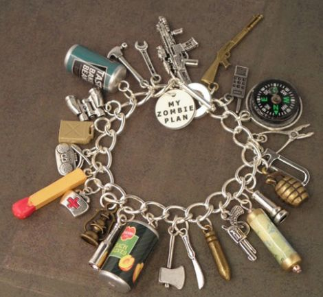 This bracelet seeks to represent everything you'd need in the case of a government shutdown---er---wait--- the apocalypse.