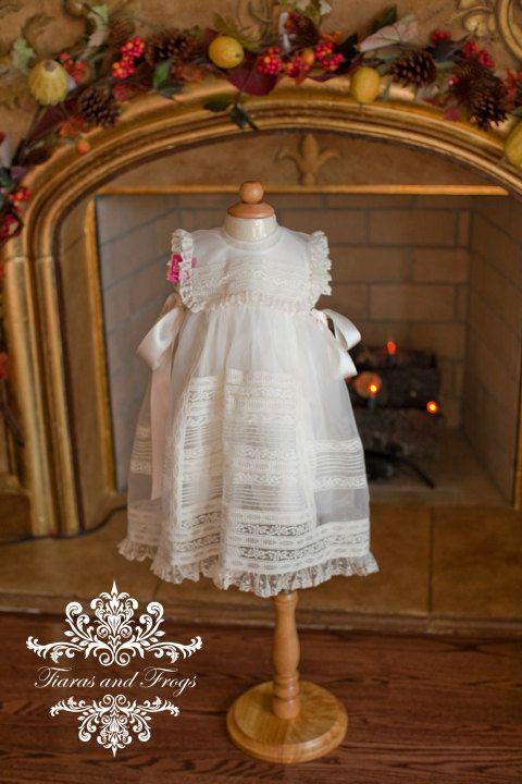 "Heirloom christening baby girl gown bonnet baptism dress upscale vintage boutique 0-12 months silk presentation gown ""Valentina"""