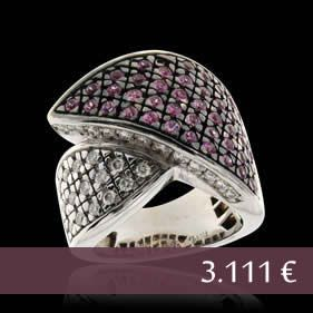 Ring 18Kt Wg & Diamond - Pink Sapphires - Carats: 0.54 ct - Price: 3.111 € Euro - Direct with the owner in southern Europe - Email: andersonweb@outlook.com
