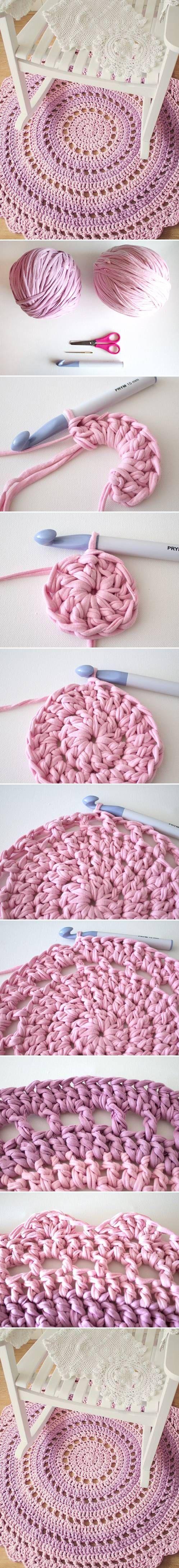 DIY Knitted Mandala Rug