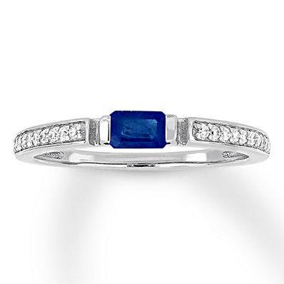 Jared - Natural Sapphire Ring 1/10 ct tw Diamonds 10K White Gold