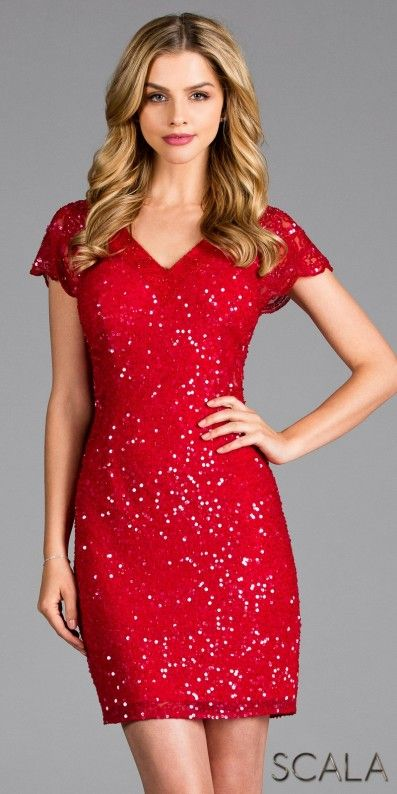 9eb55f5b09 Be the crowds desire at your next event in the sparkling Scalloped Cap  Sleeve Sequin Keyhole Cocktail Dress by Scala. This pretty mini features a  v-shape ...