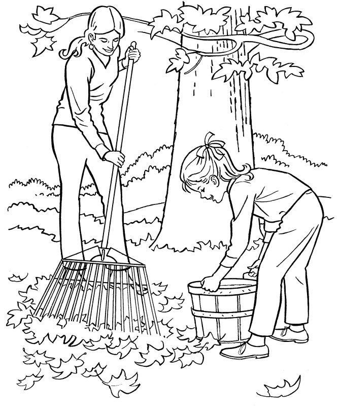 farm work and chores coloring page free printable farm raking leaves coloring page sheets