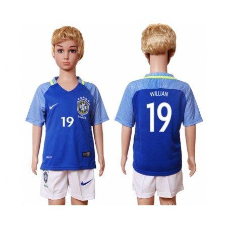 Brasilien Trøje Børn 2016 #Willian 19 Udebanetrøje Kort ærmer.199,62KR.shirtshopservice@gmail.com