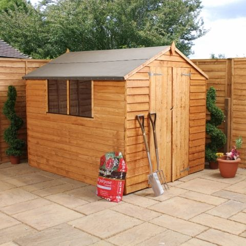 wooden garden shed for es 7x5 overlap