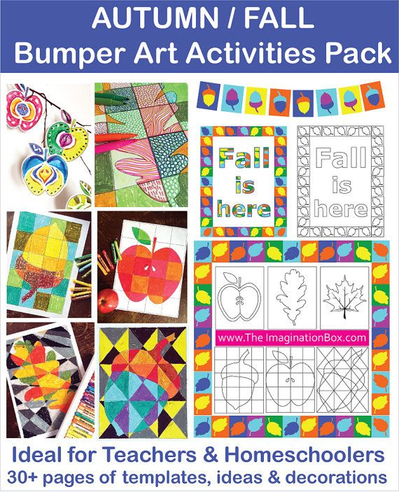Kids Autumn/Fall Bumper Art & Craft Activity Pack. Colouring, doodle sheets. Acorns, oak leaves, apples, bunting. Instant download 31 pages