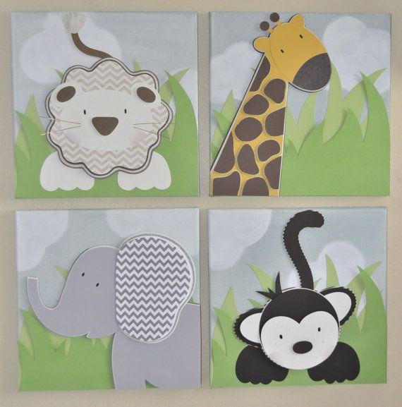 Es una jungla ah fuera 4 12 x 12 lienzos arte de la for Cuadros habitacion bebe