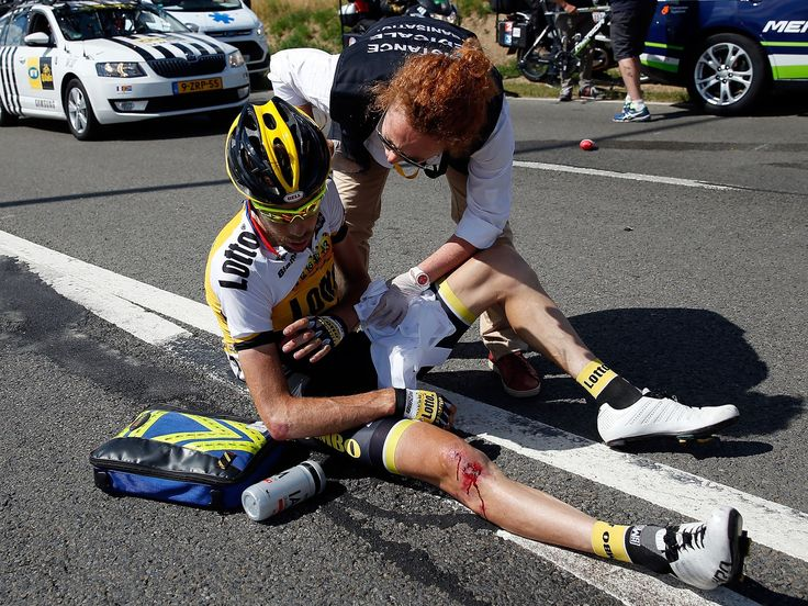 Laurens Ten Dam is attended to by medial personnel after being involved in a crash during Stage 3 of the 2015 Tour de France between Antwerp and Huy in Belgium.  Doug Pensinger, Getty Images