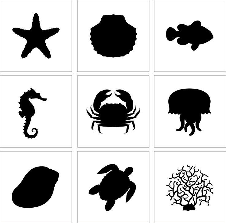 sea stencils | Set of 9 Stencil Cake Decoration Airbrush Tattoos Pattern Sea Animals ...