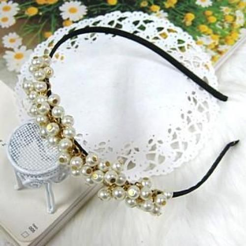Faux Pearl Hair Band White - One Size
