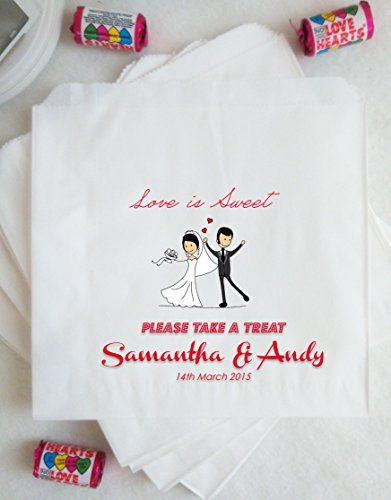Personalised Bride and Groom Sweet Bags Candy Bar Cart , Wedding Favours x 25 bags Pawz and Ribbon http://www.amazon.co.uk/dp/B00RVDJANM/ref=cm_sw_r_pi_dp_pfqlwb0TMCQV7