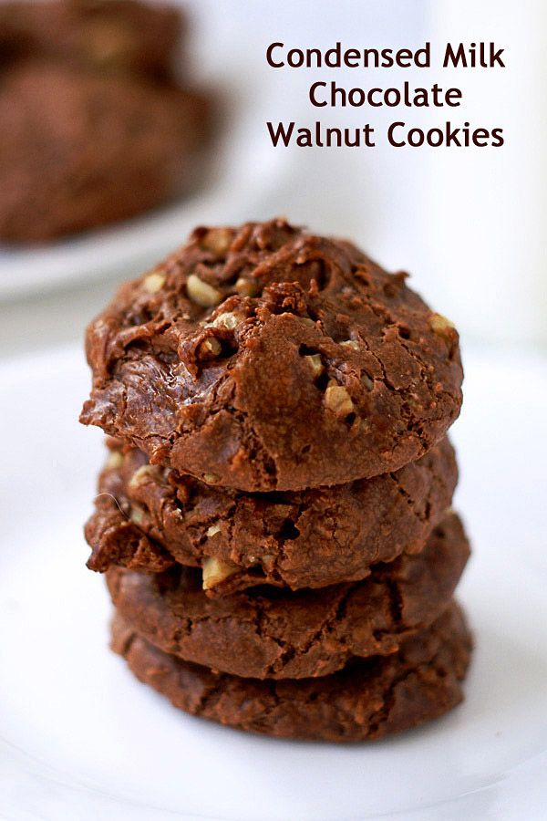 A recipe for condensed-milk chocolate walnut cookies. The sweetened condensed milk makes this cookie chewy, rich, and divine.