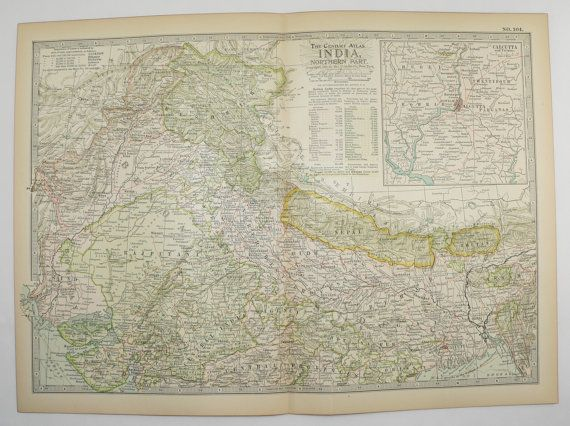 Vintage India Map 1901 Antique Map Northern India, Nepal Map, Bhutan, Kashmir Map Pakistan, New Home Gift for Couple, Office Wall Art available from OldMapsandPrints on Etsy