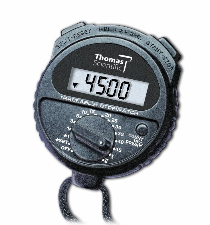 """Thomas 1035 ABS Plastic Traceable Countdown Stopwatch, 0.001 Percent Accuracy, 2-1/2"""" Diameter x 5/8"""" Depth. Single action and time in/time out timing. Cumulative split timing. ABS plastic construction. 0.01 percent accuracy. Measures 2-1/2"""" diameter by 5/8"""" depth."""