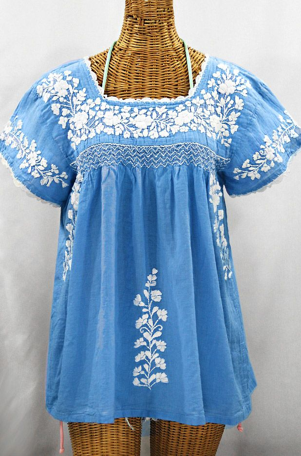 "Siren ""La Marina Corta"" Embroidered Mexican Peasant Blouse - Light Blue   White $68.95"