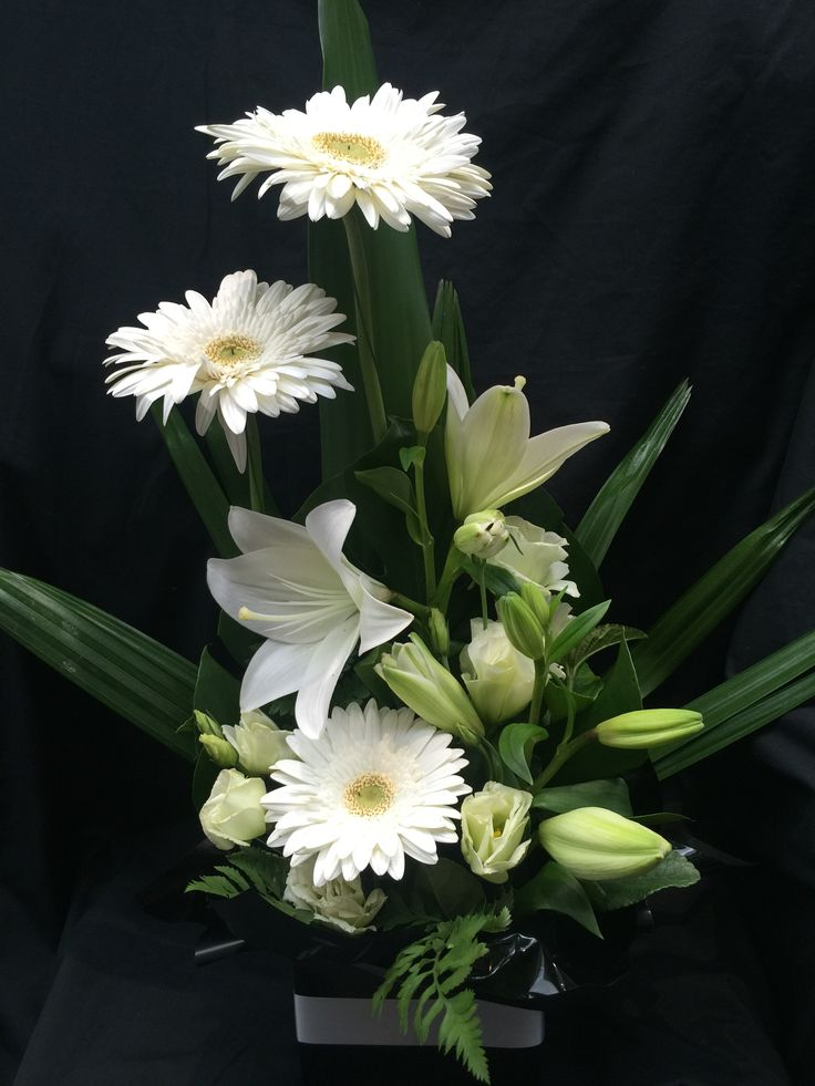 White & Black Gerbera, Lilies & Lisianthus