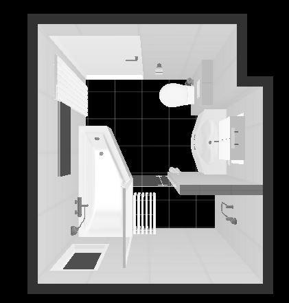Indeling kleine badkamer (2.20 x 2.50) Toilet met inbouw reservoir (0.65) Wastafelmeubel incl. spiegelkast (0.90) Inloop douche (0.85 x 1.40) met glazen wand (0.90 vast 0.35 stuk 180 graden draaibaar) Ligbad (1.60 x 0.80/0.50) Designradiator (1.70 x 0.60)