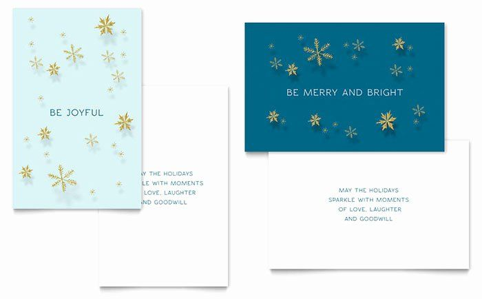 Microsoft Word Greeting Card Template Best Of Golden Snowflakes Greeting Card Templ Free Greeting Card Templates Birthday Card Template Christmas Card Template