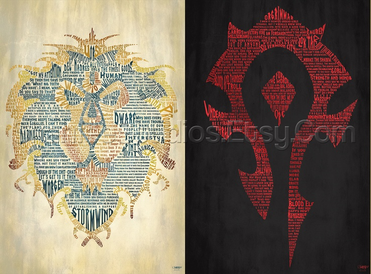 "Beautiful! // World of Warcraft Alliance and Horde Posters -  27x40"" (Theatrical Size). $90.00, via Etsy."