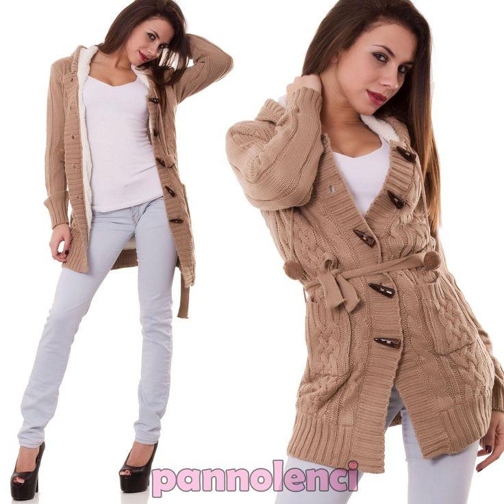 Cardigan-donna-imbottito-giacca-giaccone-cappuccio-pull-maglione-nuovo-Z4471