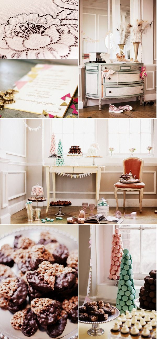 Fantastic color palette of pastel pink combined with mint and a sort of vintage green.And brown for brownies