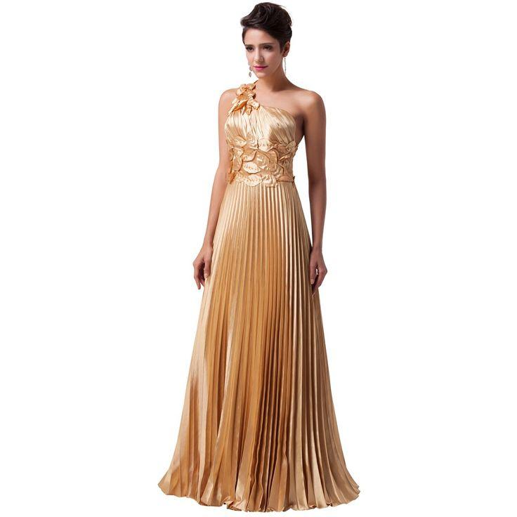 Abendmode / One Shoulder Abendkleid in Gold