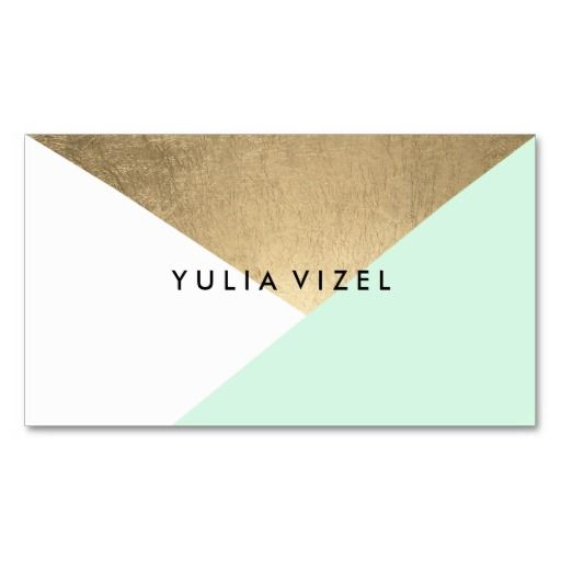 Mint white modern faux gold foil colour block chic pack of standard business cards