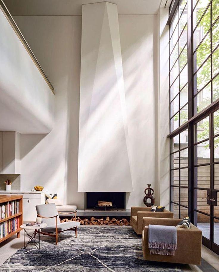 #fireplace, loft, industrial window wall