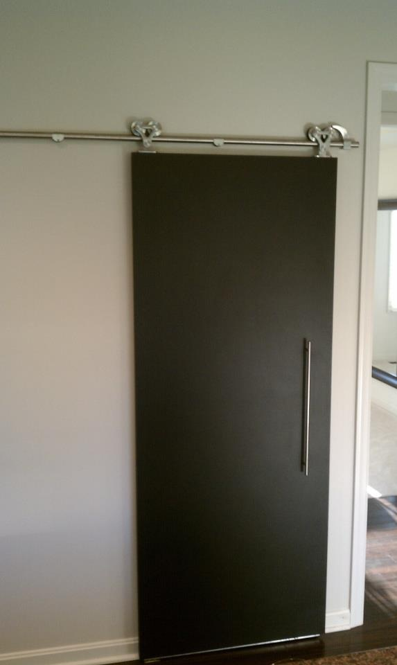 Another Pic Of The Chalkboard Painted Barn Door We Installed In Kitchen