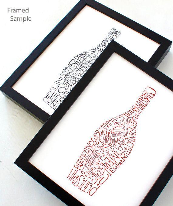 Impression typographique de vin bouteille illustration, oeuvre de cuisine, art print, set de cuisine mur décoration affiche 2