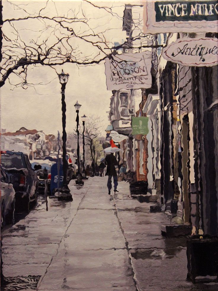 Rain #3 Urban landscape oil painting by Kenneth Young www.kenyoungfineart.com