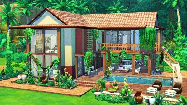 Aveline Sims Jungle Adventure House Sims 4 Downloads Buildingahouse Aveline Sims Jungle Adventure H Sims Building Sims Freeplay Houses Sims 4 House Design