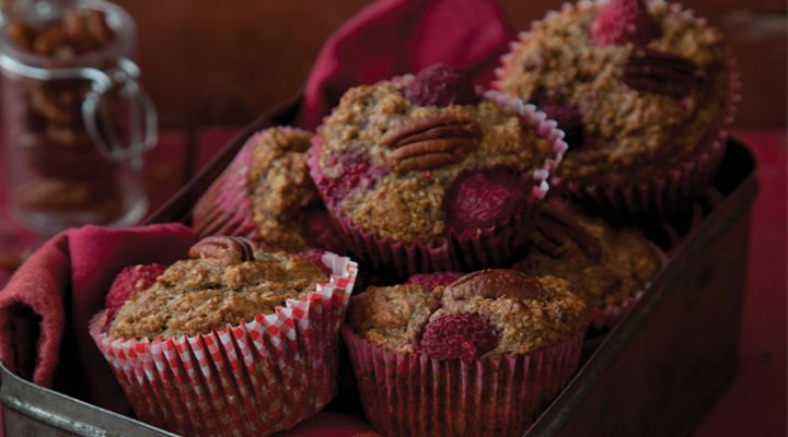 Raspberry, Banana & Pecan Breakfast Muffins. These muffins are sweetened only by the natural sugar in the fruit, making them a healthy treat for any time of the day. Omit the nuts if allergic or packing them in a school lunchbox. They are ideal for using up overripe bananas, which often tend to lurk in the fruit bowl. They are perfect for freezing and can be taken out the night before as necessary.