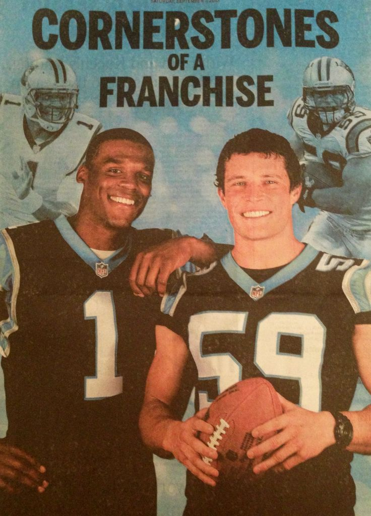 Quarterback cam Newton, left, and middle linebacker Luke Kuechly~