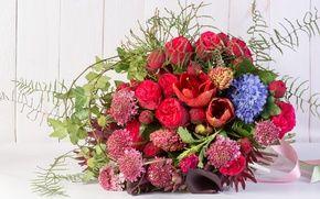 Обои амариллис, розы, астрантия, букет, каллы, гиацинт