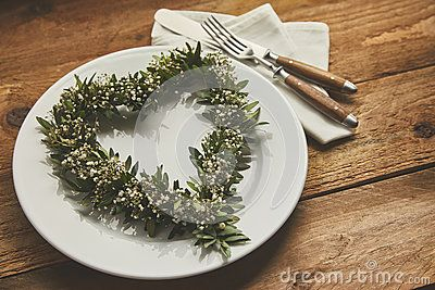 Table Setting With Heart Shaped Wreath - Download From Over 60 Million High Quality Stock Photos, Images, Vectors. Sign up for FREE today. Image: 86105824
