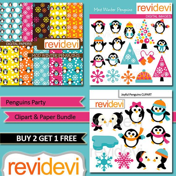 Penguins Party Clipart and Paper Bundle MGB086 by revidevi on Etsy