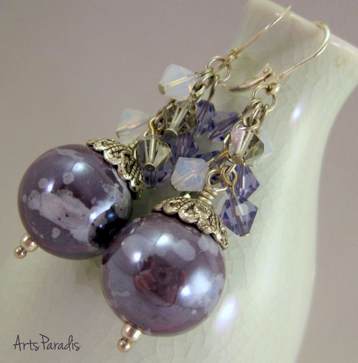 Purple and Gray Ceramic with Swarovski Crystal Cluster Earrings by ArtsParadis
