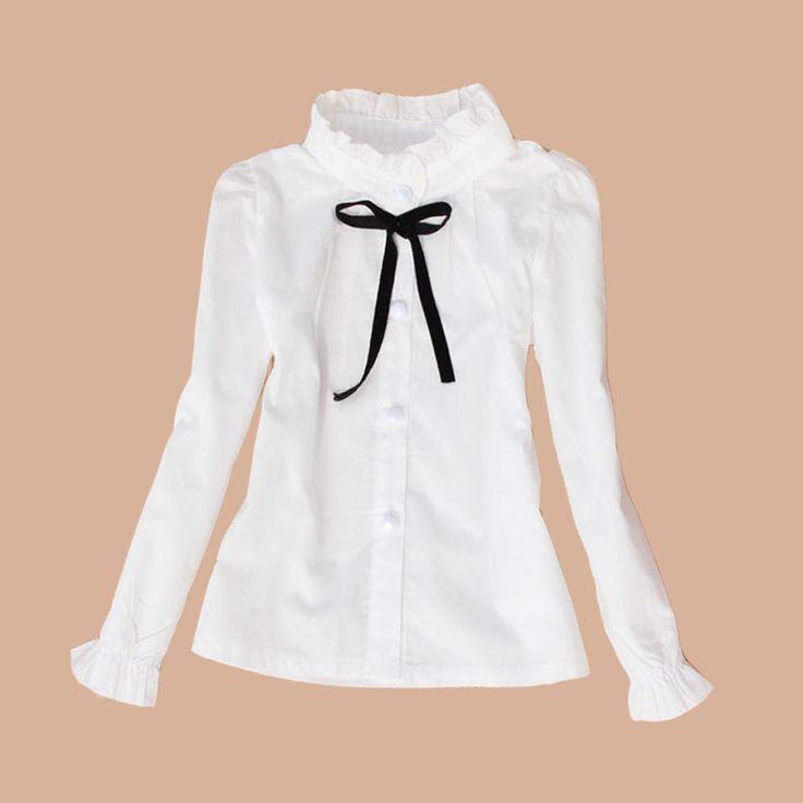 Большие дети школьная форма хлопок формат подросток детская одежда отложной воротник полный длинным рукавом белые блузки и рубашки девушки топ 2 - 15 г