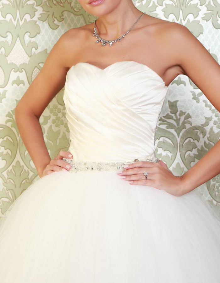 VELEZ A statement tulle ballgown with flattering ruched bodice and intricate beading around the waistline. https://www.wed2b.co.uk/vintage-wedding-dresses/viva-bride-velez.php