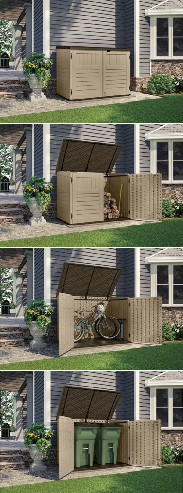The multipurpose shed from Suncast includes double doors for easy access to your essentials.