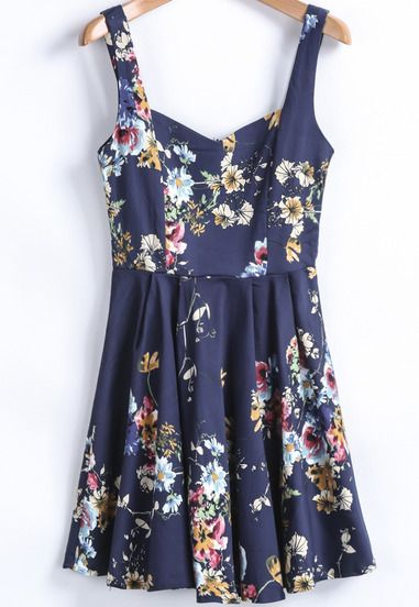 Blue Spaghetti Strap Floral Slim Pleated Dress