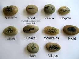 Native American tribal drawing language on rocks! Brilliant