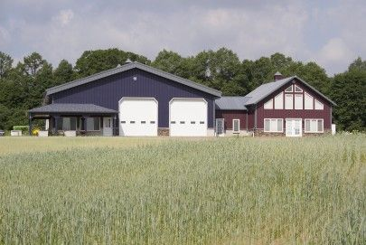 This Farm Shop & Office was built for Pete of Machias, NY Special Features: Morton's Hi-rib Steel Cupolas Brick Wainscot Deep Fascia Overha...