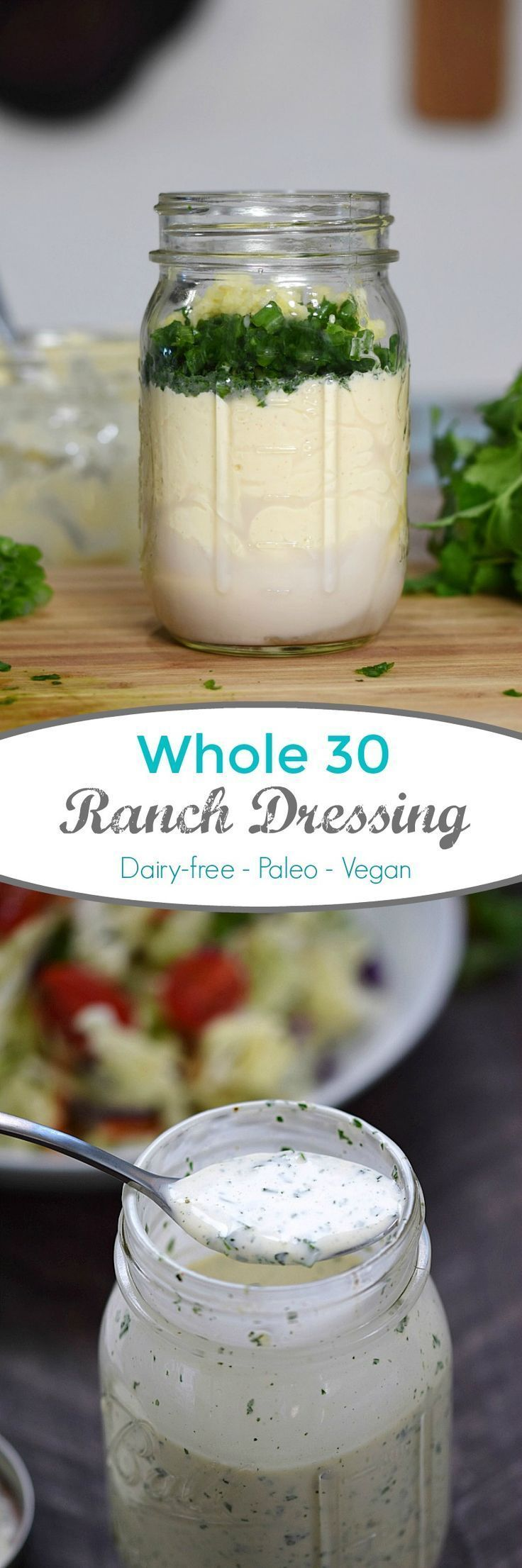 This is the best Whole 30 Ranch Dressing ever. Fresh and delicious flavor, and only takes minutes to make