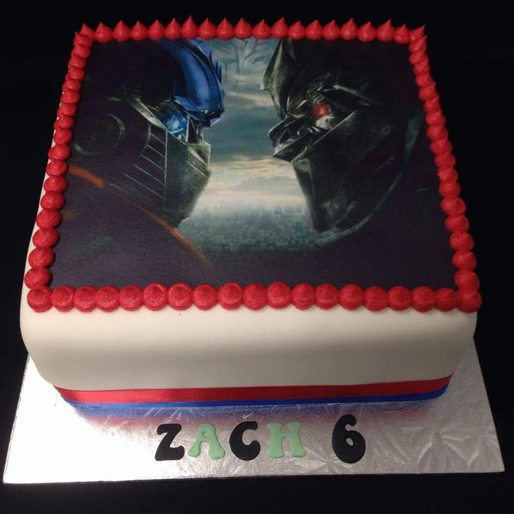 Transformers (Optimus Prime vs Megatron) Themed Birthday Cake decorated by Coast Cakes Ltd