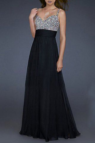 Sexy Sweetheart Neck Sleeveless Sequined Color Block Women's Dress