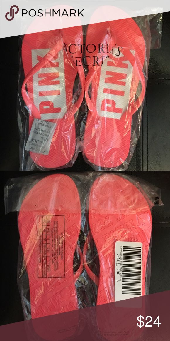 VS PINK Flip Flops Neon Coral Spring Break NIP VS Pink Spring Break Flip Flops in Neon Coral, size Small (size US 5/6). New in package.   Your fave flip flops, with new and improved details—perfect for Spring Break pool parties, Summer beach soirees, or every day.   Sold out online and in stores! PINK Victoria's Secret Shoes Slippers